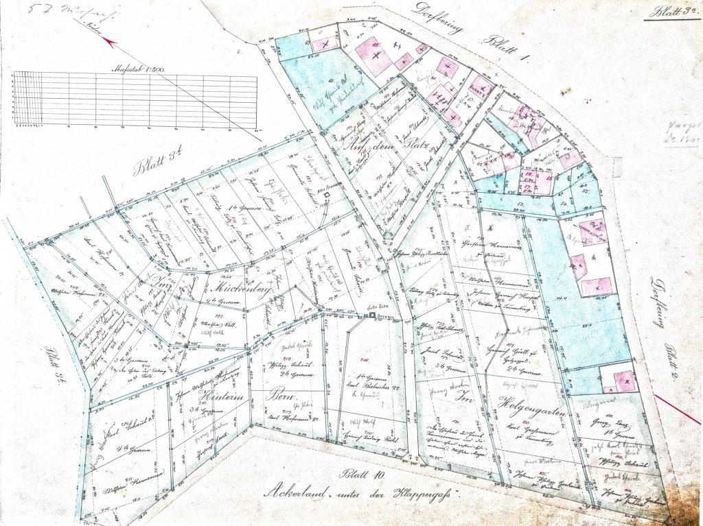 Blatt 3a der 'Specialkarten in 19 Blättern über die konsolidierte Gemarkung Scheidt, Kreis Unterlahn Amt Diez, 1879'