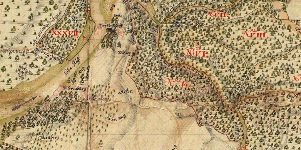 Kartenausschnitt der schaumburgischen Walddistrikte