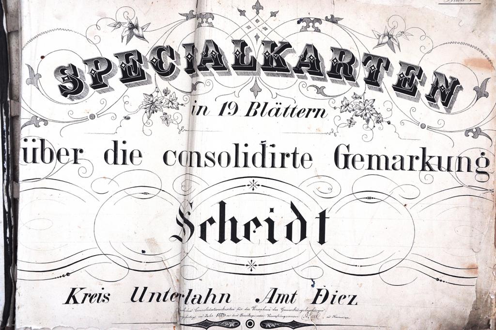 Vorblatt der 'Specialkarten in 19 Blättern über die konsolidierte Gemarkung Scheidt, Kreis Unterlahn Amt Diez, 1879'