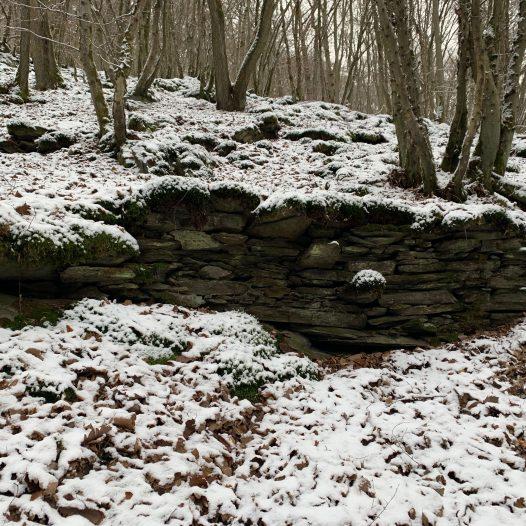 Aufstiegshilfe an Mauerresten am Eichenauer Berg