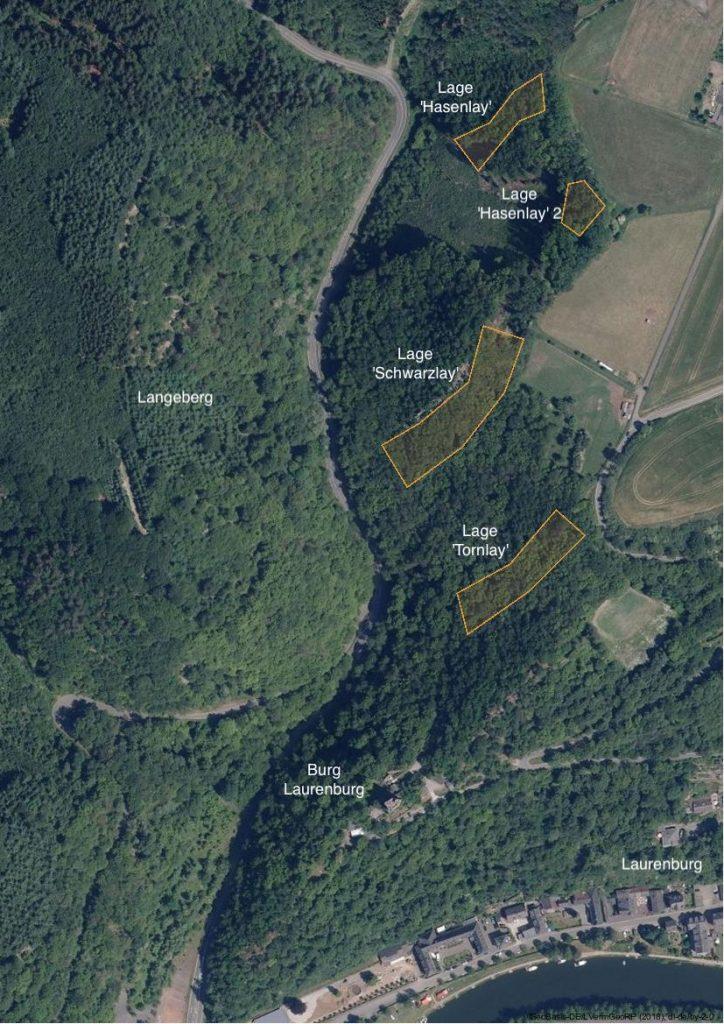 Lage Turmberg mit den Einzellagen 'Hasenlay', 'Schwarzlay' und 'Tornlay'.