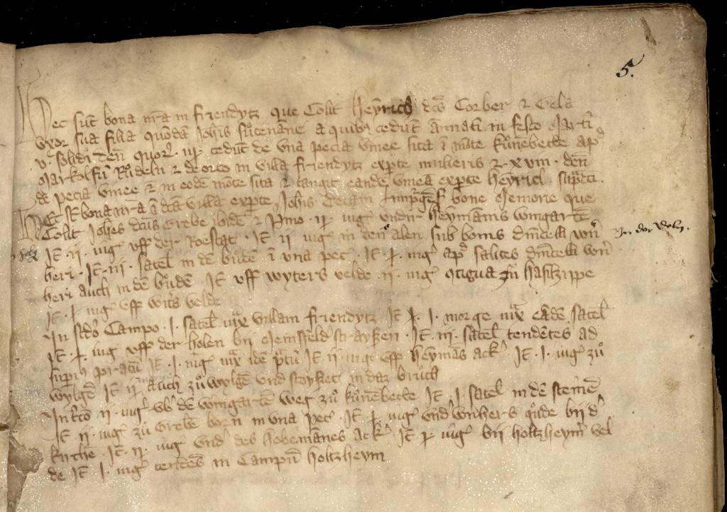 Ausschnitt Freiendiez Seite 5 aus HHStAW, Bestand 20, U 108a, 1355
