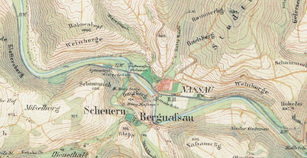 Ausschnitt Nassau Preußische Kartenaufnahme 1:25.000, Uraufnahme-Urmesstischblätter (1843-1879)