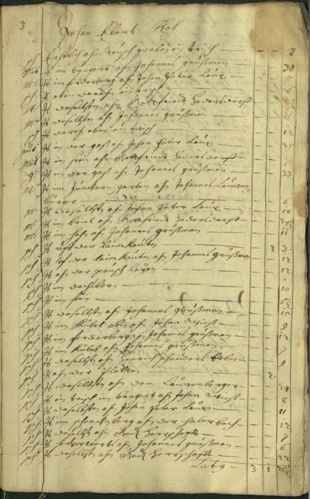 Auszug Seite 3 LHA Bestand 47, Nr. 6420, 1686