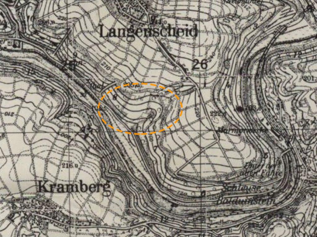 Langenscheider Klamm 1943-1951 - Ausschnitt Meßtischblatt 1:25.000