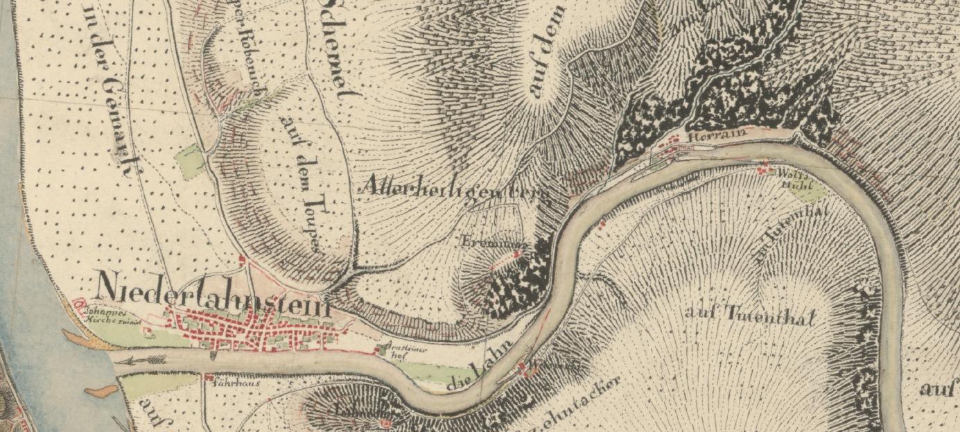 Ausschnitt Niederlahnstein Kartenaufnahme der Rheinlande durch Tranchot und von Müffling (1803 - 1820)