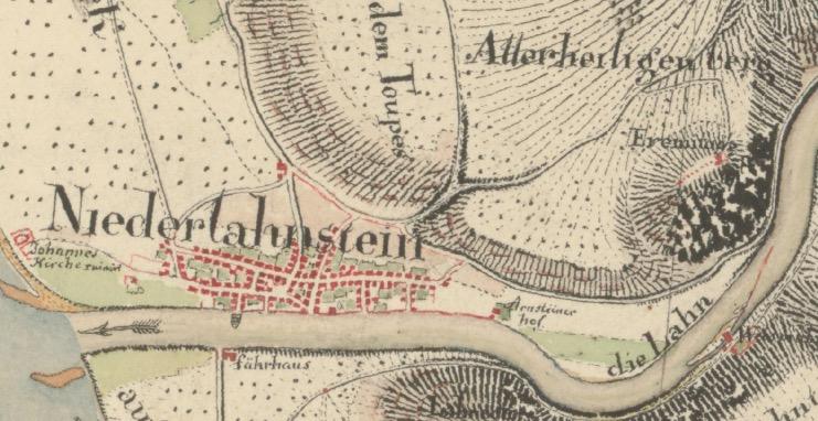 Ausschnitt Niederlahnstein / Arnsteiner Hof Kartenaufnahme der Rheinlande durch Tranchot und von Müffling (1803 - 1820)